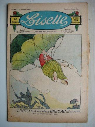 LISETTE n°361 (10 juin 1928) Linette et son vieux bredaine (Louis Maîtrejean) La statue complaisante (Th. Barn)