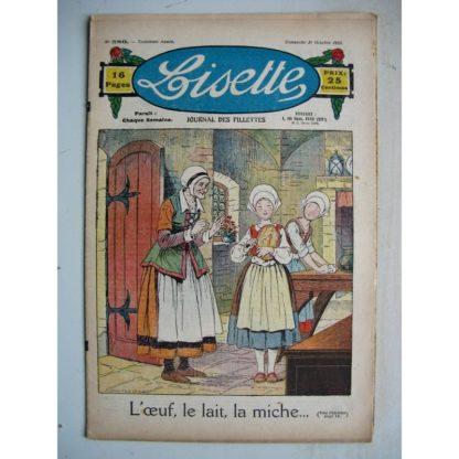 LISETTE n°380 (21 octobre 1928) L'oeuf, le lait, la miche (Louis Maîtrejean) Poupée Lisette (Robe-Chemisier)