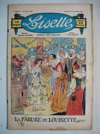 LISETTE n°384 (18 novembre 1928) La parure de Louisette (Louis Maîtrejean) Marrons chauds (Yves Gohanne)