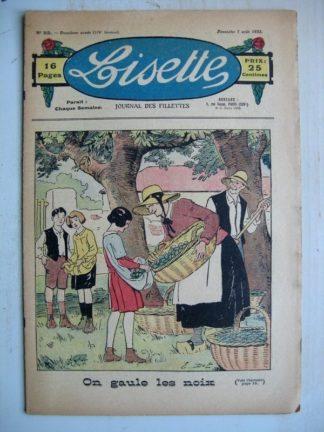 LISETTE n°32 (7 août 1932) On gaule les noix (Emile Dot) Poupée Lisette (Ensemble jupe et veste)