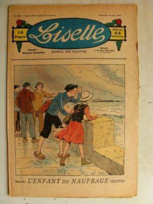 LISETTE N°23 (10 juin 1934) L'enfant du naufrage (Emile Dot – Maria de Crisenoy) Jase et Jasette