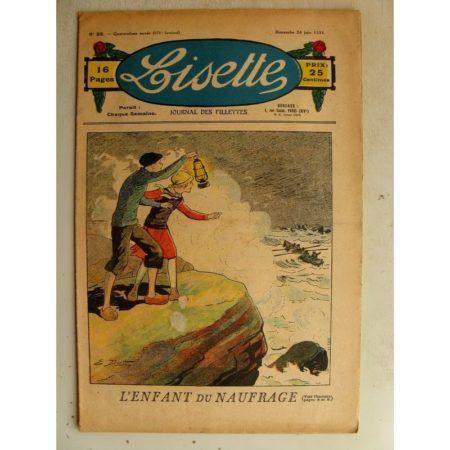 LISETTE n°25 (24 juin 1934) L'enfant du naufrage (Emile Dot) Jeux et jouets (Henriette Roynette)