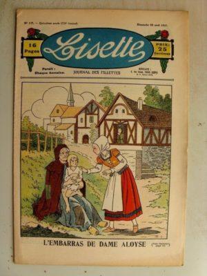 LISETTE n°17 (28 avril 1935) L'embarras de dame Aloyse - Poupée Lisette (Peignoir)