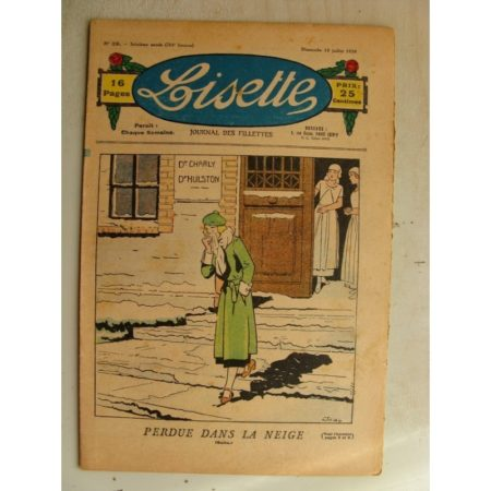 LISETTE n°29(12juillet 1936) Perdue dans la neige (Louis Maîtrejean) Tablier et blouse paletot (patron)