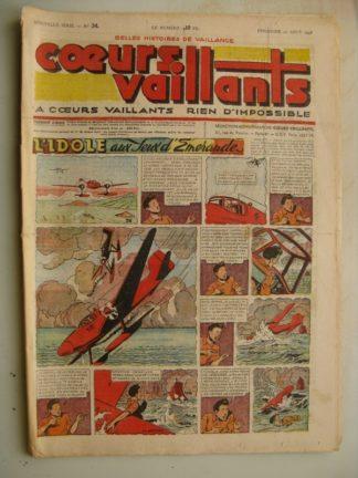 COEURS VAILLANTS N°34 (FLEURUS 1948) Tintin le Temple du Soleil