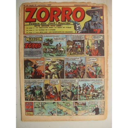ZORRO JEUDI MAGAZINE N°69 (25 septembre 1947) Editions Chapelle