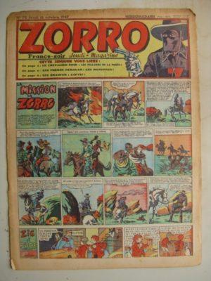 ZORRO JEUDI MAGAZINE N°72 (16 octobre 1947) Editions Chapelle