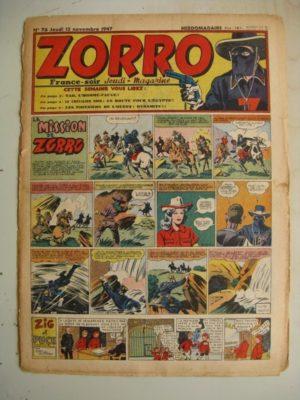 ZORRO JEUDI MAGAZINE N°76 (13 novembre 1947) Editions Chapelle