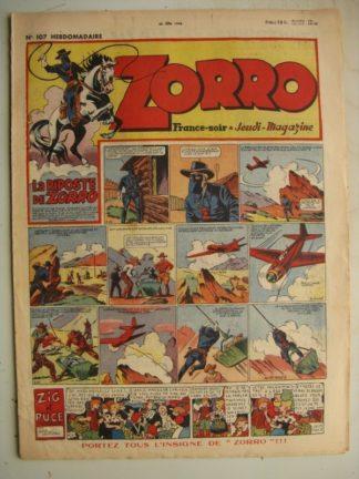 ZORRO JEUDI MAGAZINE N°107 (20 juin 1948) Editions Chapelle