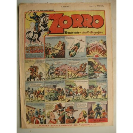 ZORRO JEUDI MAGAZINE N°110 (11 juillet 1948) Editions Chapelle