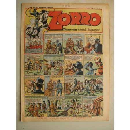 ZORRO JEUDI MAGAZINE N°113 (1er août 1948) Editions Chapelle