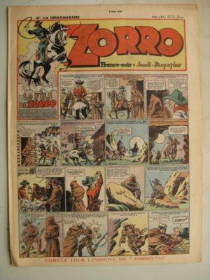 ZORRO JEUDI MAGAZINE N°114 (8 août 1948) Editions Chapelle