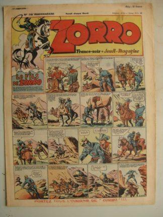 ZORRO JEUDI MAGAZINE N°116 (22 août 1948) Editions Chapelle