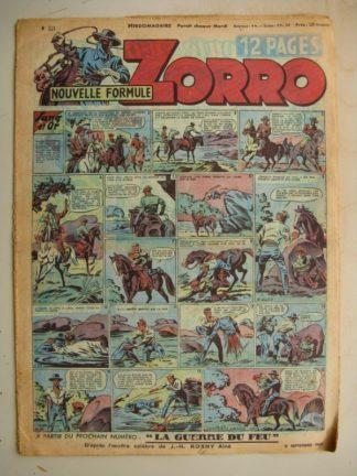 ZORRO JEUDI MAGAZINE N°221 (3 septembre 1950) Editions Chapelle