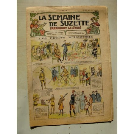 La Semaine de Suzette 11e année n°8 (1915) Les petits musiciens (Raymond de la Nézière) Bleuette (chaussons au crochet)
