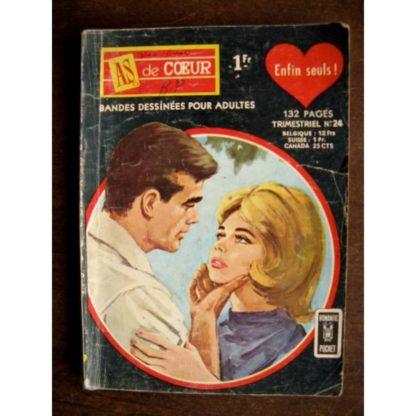 AS DE COEUR (1E SERIE) N°24 ENFIN SEULS - AREDIT ROMANTIC POCKET 1967