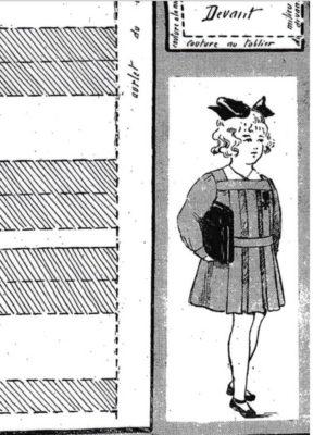 BLEUETTE – Tablier d'écolière 1918 – Patron de poupée (448)