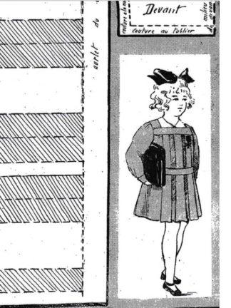 BLEUETTE – Tablier d'écolière 1918 – Patron de poupée