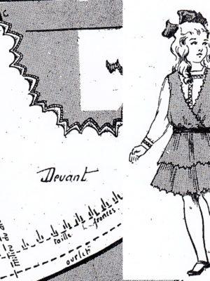 BLEUETTE – Robe d'été en toile ou linon 1916 – Patron de poupée (391-395)
